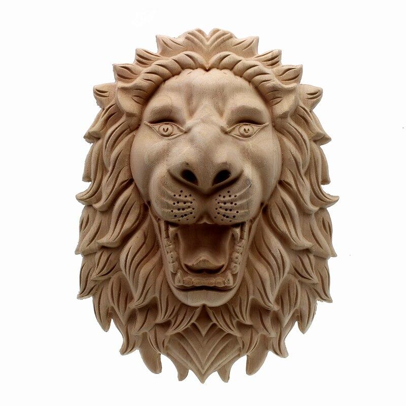 RUNBAZEF sculpture sur bois tête de Lion décalcomanie coin bois Applique pour la décoration de la Maison accessoires meubles décor décoratif Long