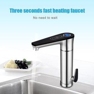 Image 3 - سخان مياه كهربائي للمطبخ بقدرة 220 فولت سخان مياه بدون خزان صنبور تسخين الماء الساخن مع مفتاح عرض لدرجة الحرارة يعمل باللمس