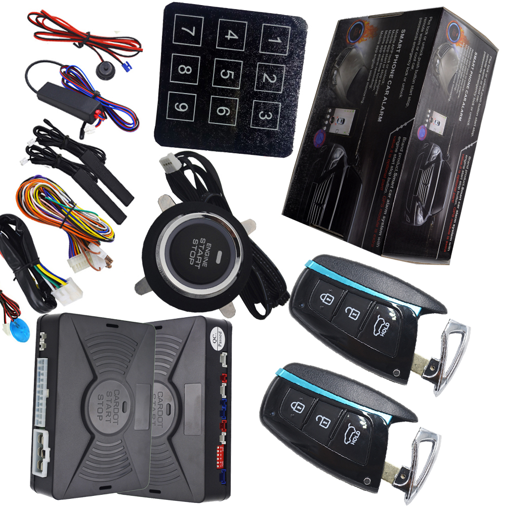 remote start stop car alarm with auto engine ignition button side door alarm and illegal start alarm protection push start stop smart haa flip key pke car alarm system push start remote start stop engine auto central door lock with shock sensor