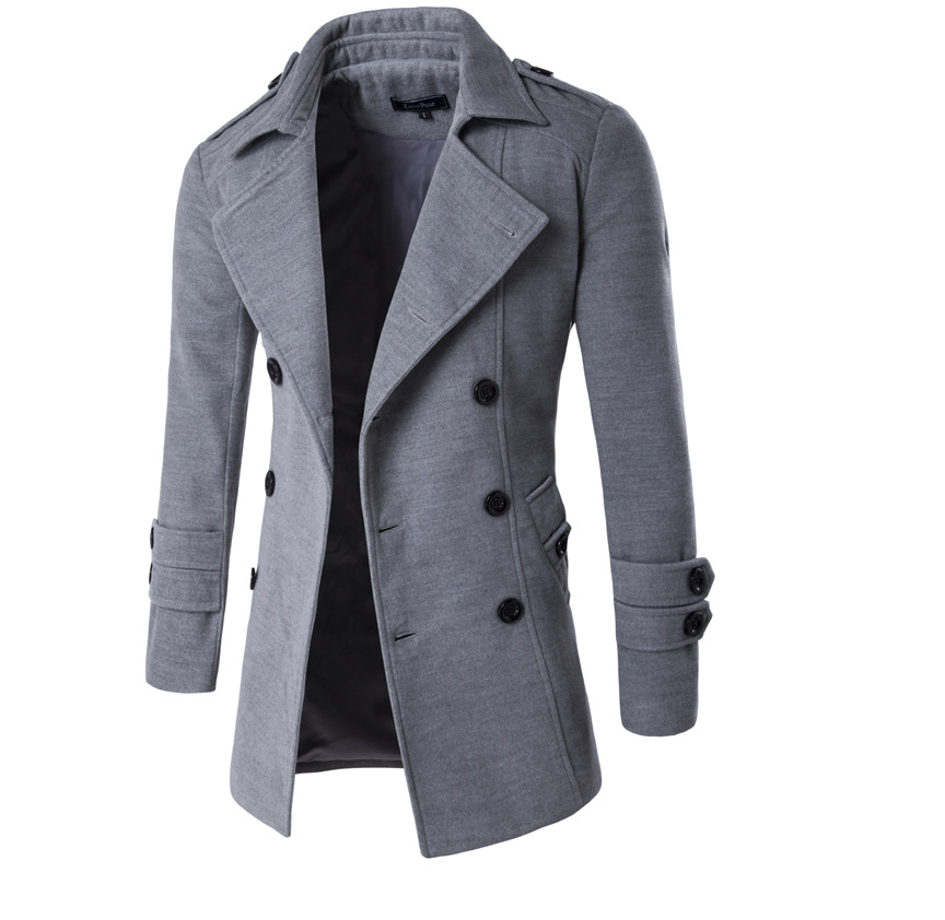 2017 Autumn and winter men's fashion double breasted coat jacket men clothing casual Slim Fit solid color coats high quality