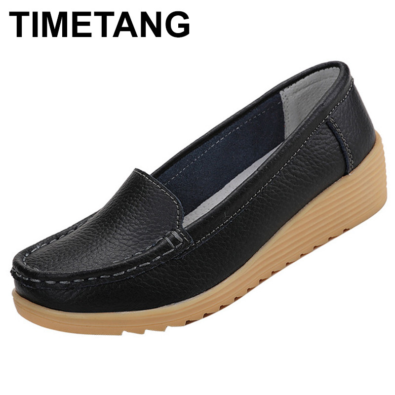 TIMETANG Shoes women casual loafers flats genuine leather slip-on sewing spring/autumn shoes synthetic waterproof female C279 timetang spring womens ballet flats loafers soft leather flat women s shoes slip on genuine leather ballerines femme chaussures