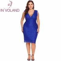 IN VOLAND Plus Size 4XL Women Lace Dress Wrap Front V Neck Sleeveless Bodycon Party Pencil