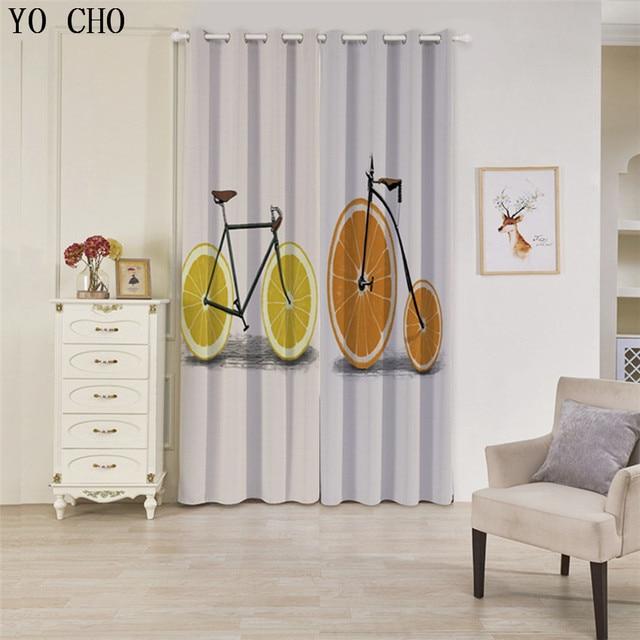 YO CHO Zitrone radfahren stil gardinen vorhänge für schlafzimmer ...