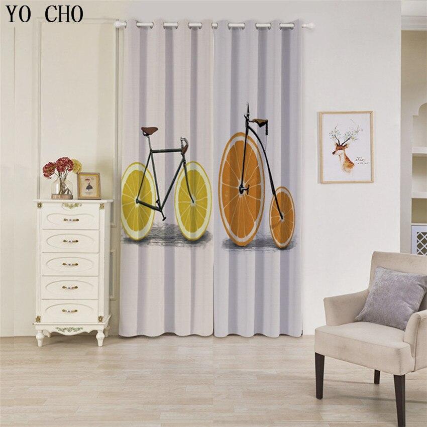 YO CHO citron vélo style rideaux voilages rideaux pour chambre urtains occultant cortina para sala rideau voilage