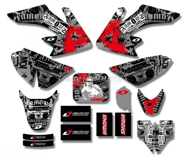 US $17 09 10% OFF|TEAM GRAPHICS&BACKGROUNDS DECAL STICKERS Kits For Honda  CRF50 STYLE Pit Dirt bike(Black/White) New Style-in Decals & Stickers from