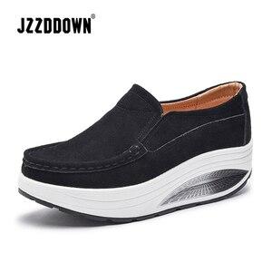 Image 2 - JZZDDOWN Inek Süet Sarmaşık kadın ayakkabı platformu Artı Boyutu mokasen Ayakkabı Kadın Platformu Hakiki Deri Bayan kadın ayakkabısı