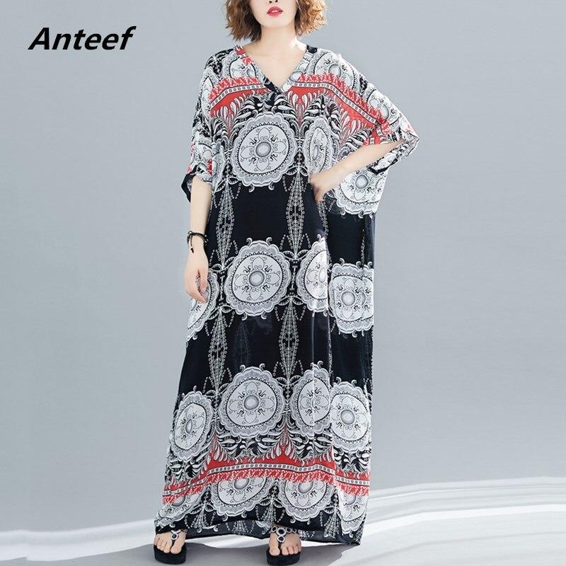 Cotton Plus Size Vintage Floral Women Casual Loose Maxi Long Summer Beach Dress Elegant Clothes 2019 Ladies Dresses Sundress 5XL