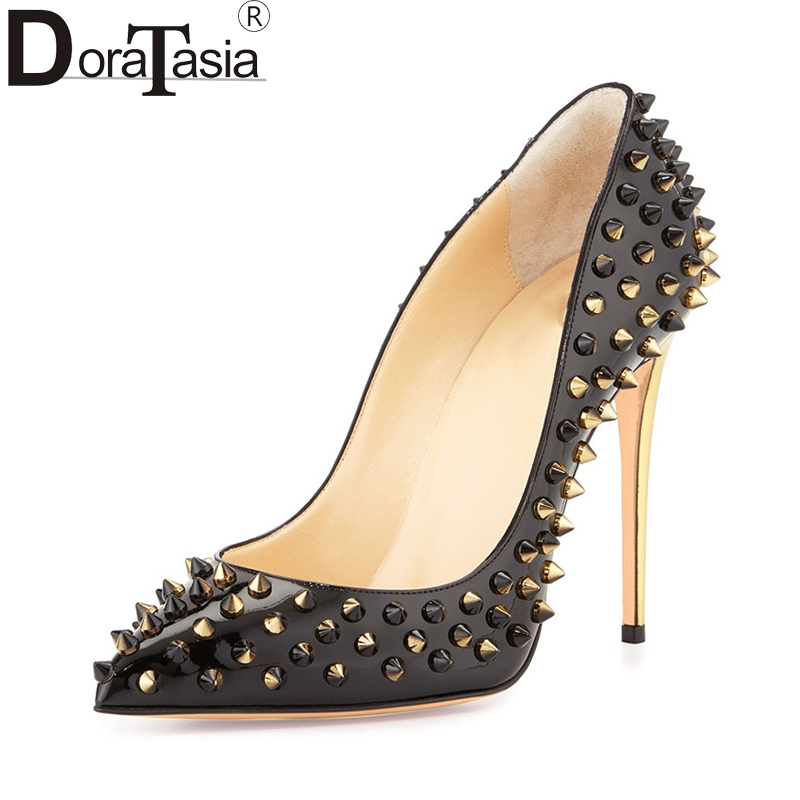 DoraTasia large size 34-48 pointed toe more colors women shoes woman sexy rivets thin high heels party wedding pumps lady doratasia embroidery big size 33 43 pointed toe women shoes woman sexy thin high heels brand pumps party nightclub