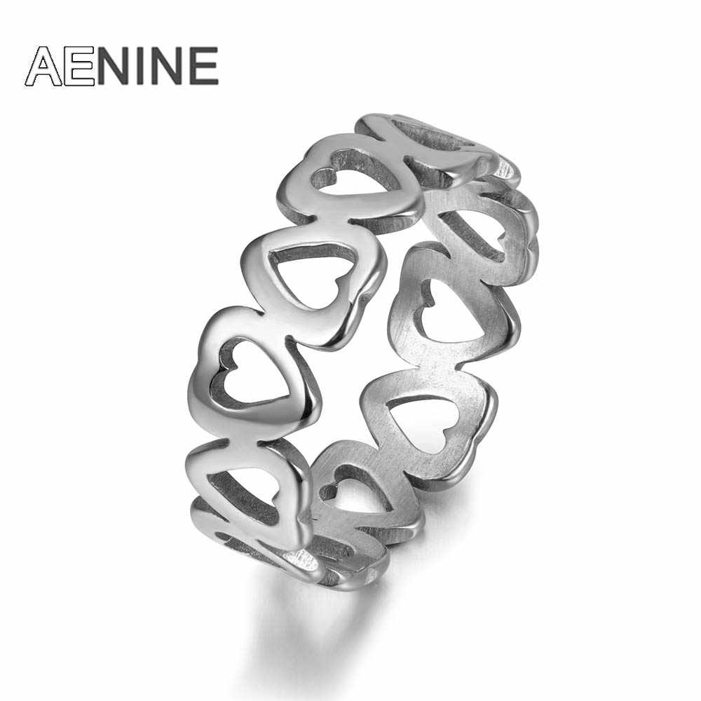 AENINE Romantic Hollow heart-shaped Couple Rings Trendy Style 316L Stainless Steel Women Ring Jewelry Anillo R171540040P