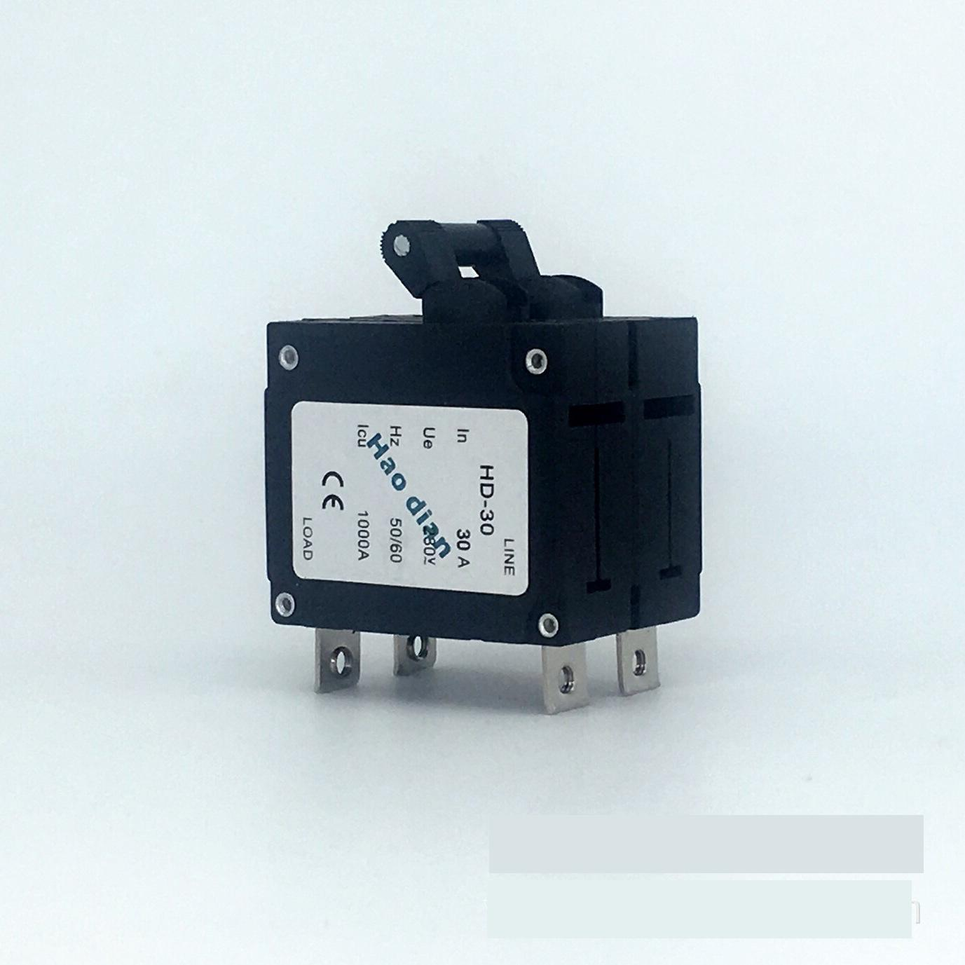 цена на 10pcs Hydraulic electromagnetic circuit breaker hd-30 2P/30A device protects the over-magnetic circuit breaker