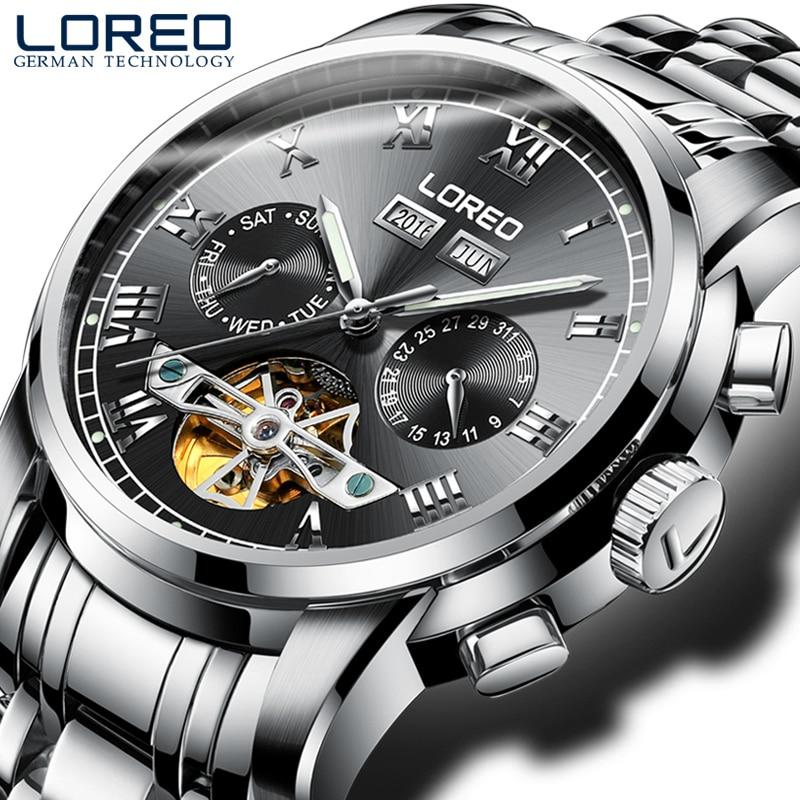 LOREO 2017 Tourbillon Top Luxury Fashion Men's Watch Automatic Mechanical Watch Hollow Luminous Waterproof Mecanique Male Watch цена