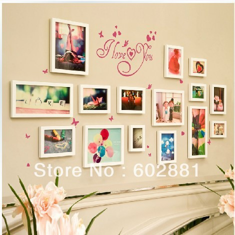 15pcs Photo Frame Wall Sticker For Art Real Wood Home Decor Diy