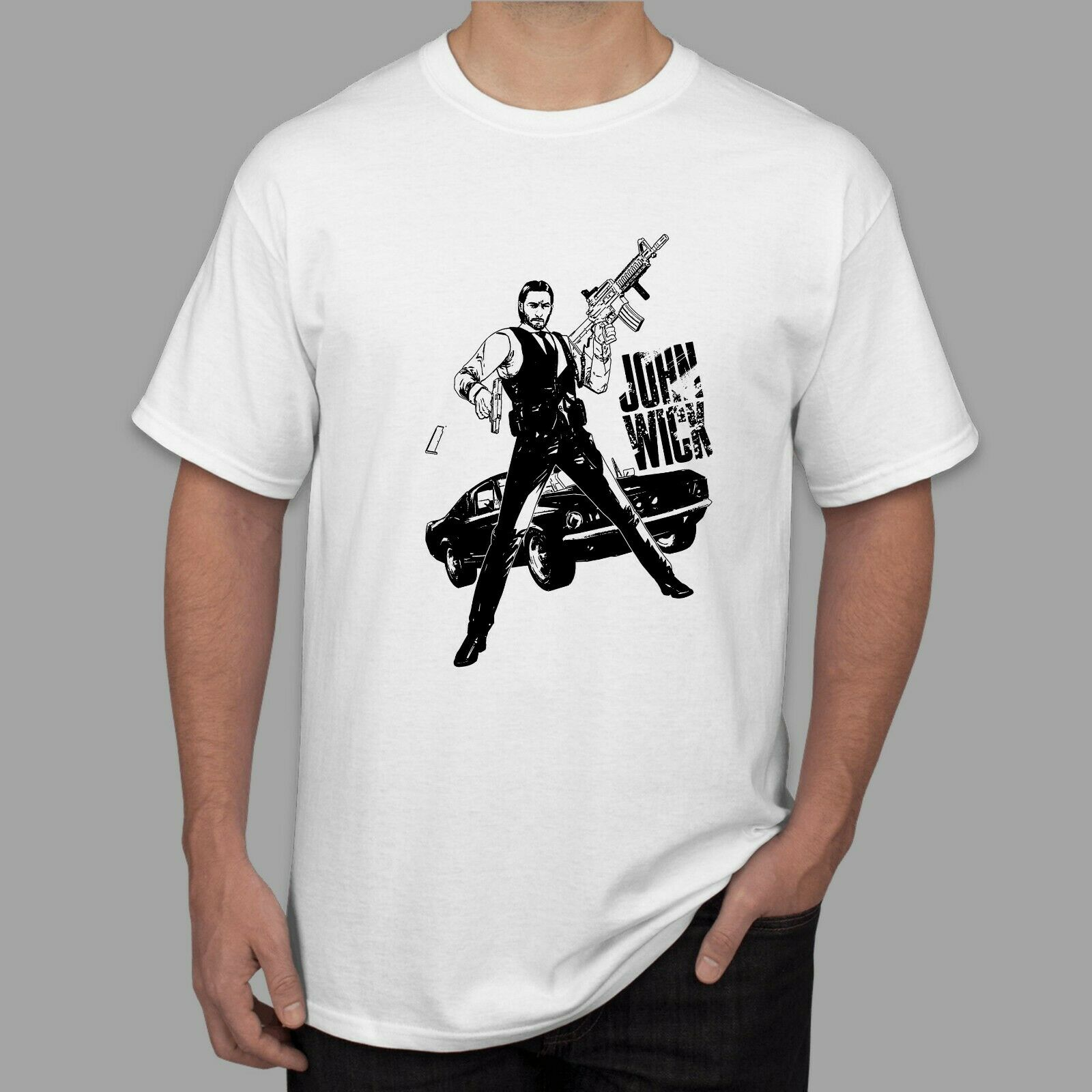 New John Wick Actioner Thrillerer Movie Mens T Shirt White Sizes S-3XL feyenoord liverpool image