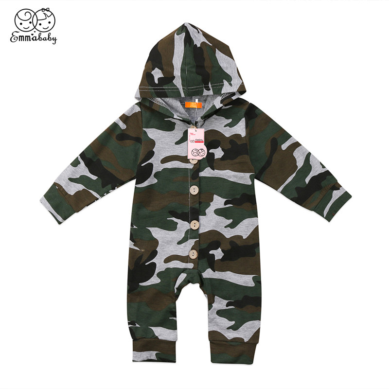 Cute Newborn Kids Baby Boys Girls Clothes Camouflage Hooded   Romper   Casual Soft Long Sleeve Jumpsuit Playsuit Outfits One Piece