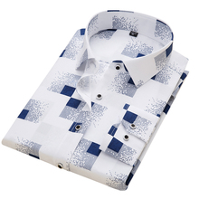 Men's Shirt Fashion Men Print Long Sleeved Shirt Male Slim Fit