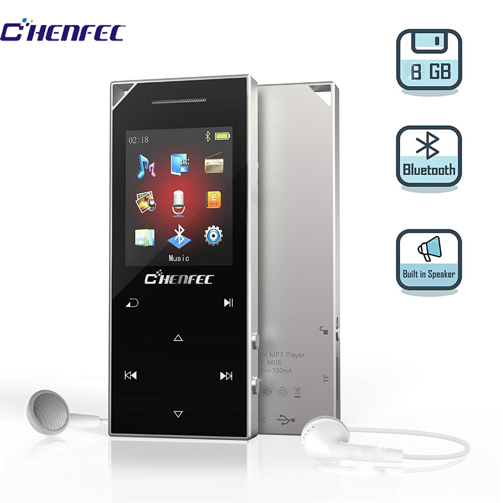 2018 actualizado CHENFEC Reproductor de música digital portátil de 8GB MP4 con Bluetooth 4.0 Reproductor de audio musical con altavoz FM 60 horasHora