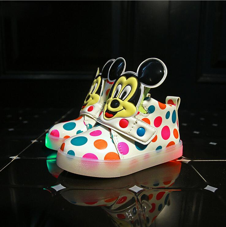 Girl s leather boots baby children toddler lights LED fashion mickey sports casual single font b