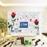 photo wallpaper custom 3d mural living room water flower swan square painting sofa TV background non-woven wallpaper for wall 3d