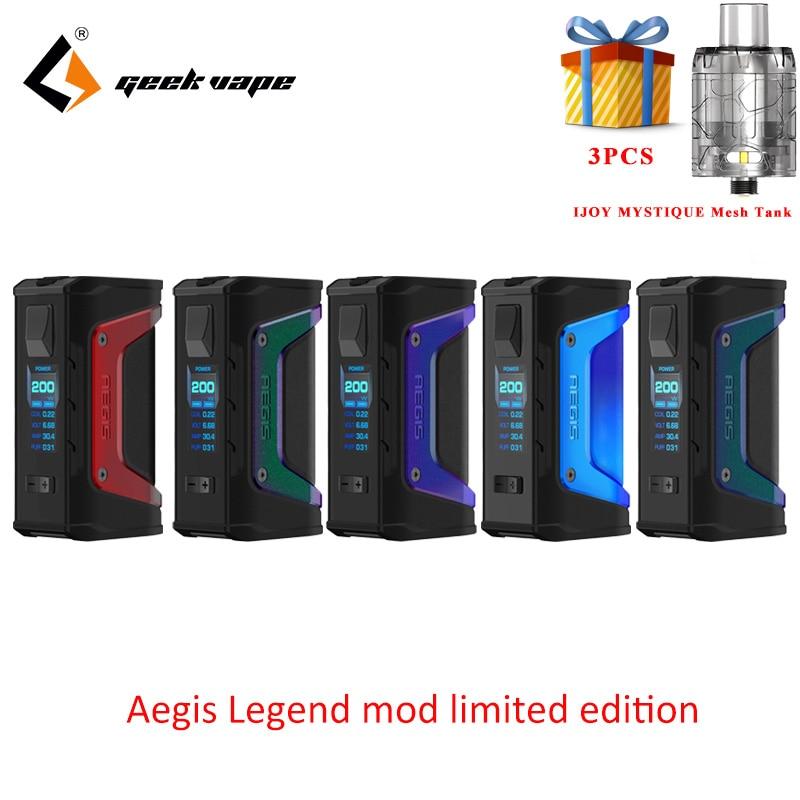 Trasporto regalo In edizione Limitata di GeekVape Aegis Leggenda mod 200 w TC Box MOD Alimentato da Dual 18650 batterie e cigs per zeus rta blitzen