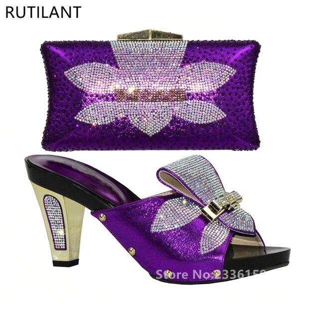 Damen Italienischen Leder Schuhe und Tasche Set Lila Italienische Schuhe  mit Passenden Taschen Hohe Qualität Afrikanische 146dac9b57