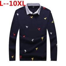 8XL 7XL 6XL Hot sale Full sleeve PLUS SIZE Men's Fashion Personality Cultivating Long sleeved Shirt POLO Casual Letter Cotton