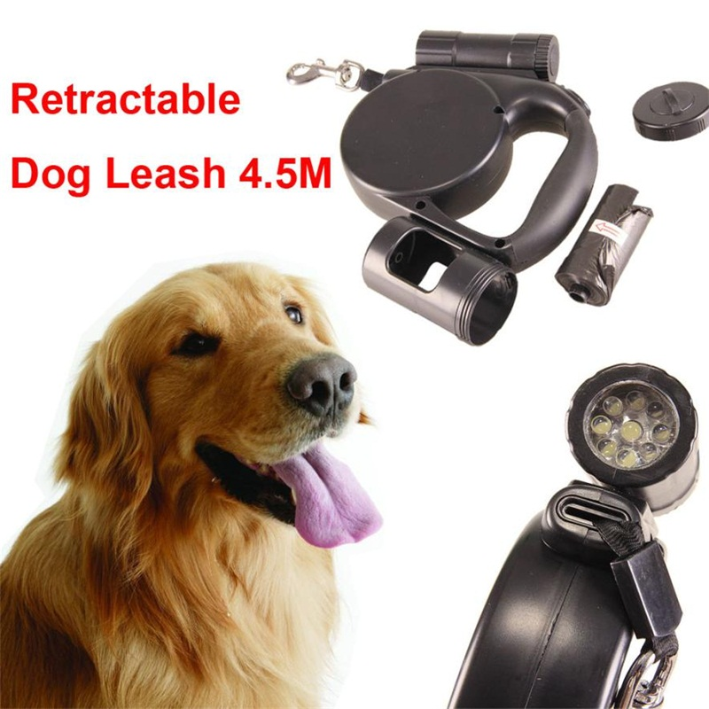 Retractable Leashes 4.5M Dog Traction Rope Leash 9 LED Lights With Garbage Bag for Mediu ...