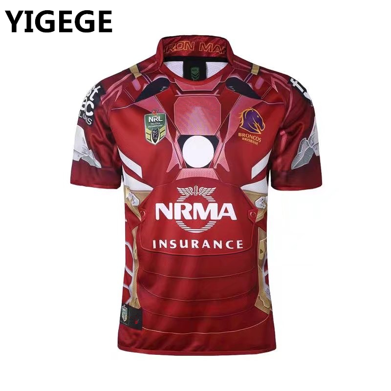 e3b16264f1d YIGEGE Commemorative Edition Heroic version Brisbane Broncos rugby Jerseys  2017 Marvel iron man Jersey League shirt nrl jersey-in Rugby Jerseys from  Sports ...