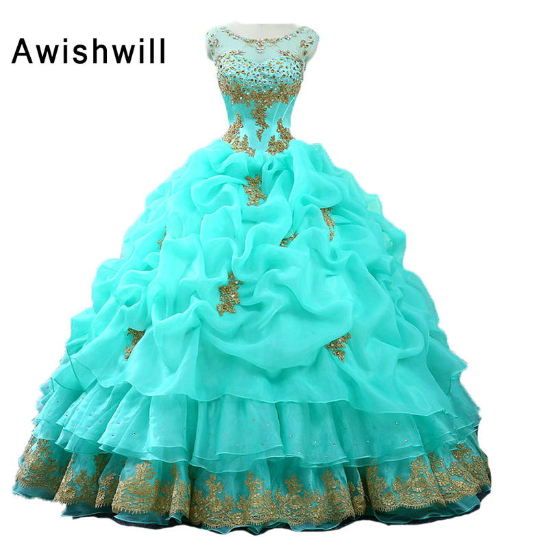 Real Photo Quinceanera Dresses Ball Gown Organza Gold Lace Appliques Beaded Ruffles Turquoise Color Sweet 16