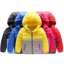 M063 novos outono e inverno das crianças para baixo jaqueta Menino e Menina Roupas de Inverno leve pato Branco Para Baixo Casaco Com Capuz