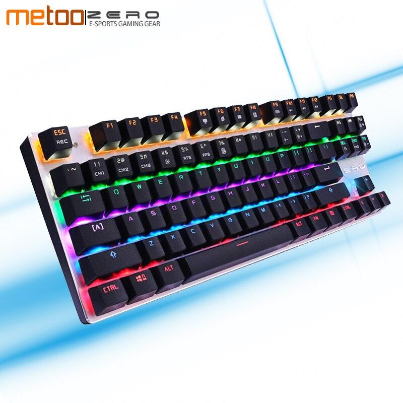 купить METOO ZERO 104/87 K Gaming Mechanical Keyboard Wired USB Metal Panel Floating Backlight with Gaming for Dota 2 PUBG Overwatch недорого