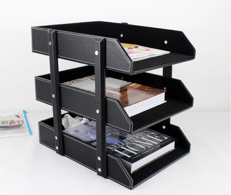 Online Shop Layer Pu Leather Office Supplies File Holder