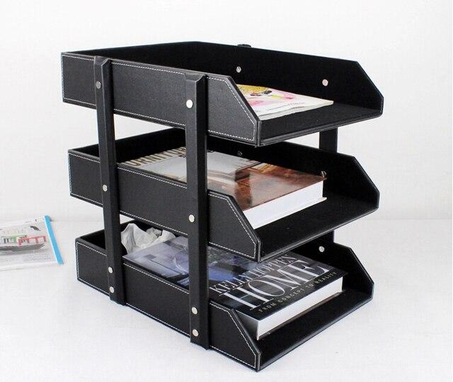 Amazing 3 Layer PU Leather Office Supplies A4 File Holder Document Tray Data Shelf  Storage Box