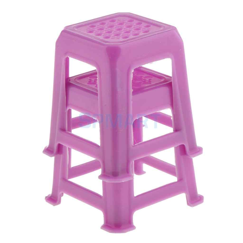 2 Pieces 1 12 Scale Dollhouse Miniature Stools Chairs Plastic Stackable Stool Model Toy For 12th Dolls House Accessories