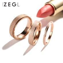 ZEGL Scrub Titanium Steel Ring Womens Tail Rose Gold Exquisite