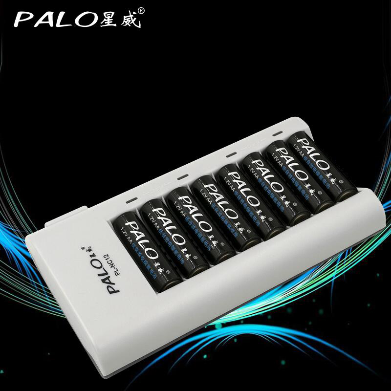 PALO Charger C808 8 Slots Charger For AA / AAA Ni-MH / Ni-Cd Batteries Intelligent Rechargeable Battery Charger With EU/ US Plug diy kit hifi remote volume control kit 128 steps dual display 50k