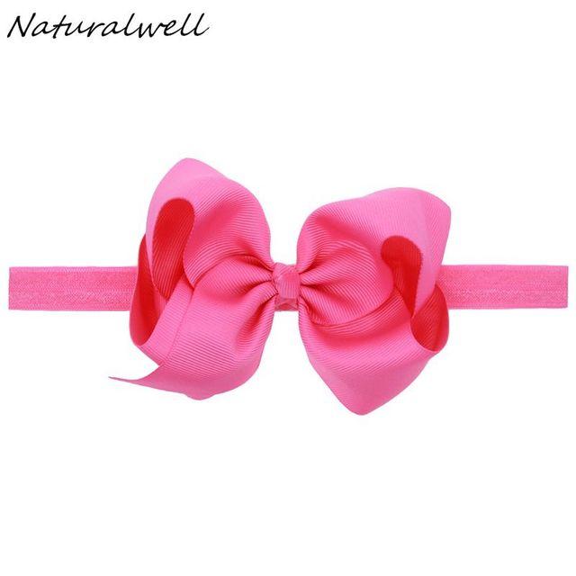 Naturalwell Small Girls Big Bow Headband Newborn Bebe Hair Accessories Elastic Hair Bands Cute Baby Girls Headbands HB179