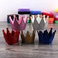30pcs/lot 5colors Newborn 3D Felt Baby Crown For Girls Hair Accessories Handmade Glitter Felt Crown For First Birthday Hat