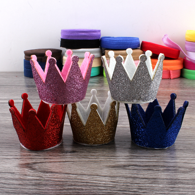 30pcs/lot 5colors Newborn 3D Felt Kids Crown For Girls Hair Accessories Handmade Glitter Felt Crown For First Birthday Hat wool felt cowboy hat stetson coffee