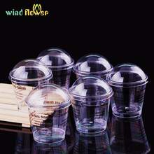 Wind flower 8Pcs/lot pudding,mousse,cake cups,tiramisu,cup cake pot ice cream cup  with covers plastic circular truncated cone