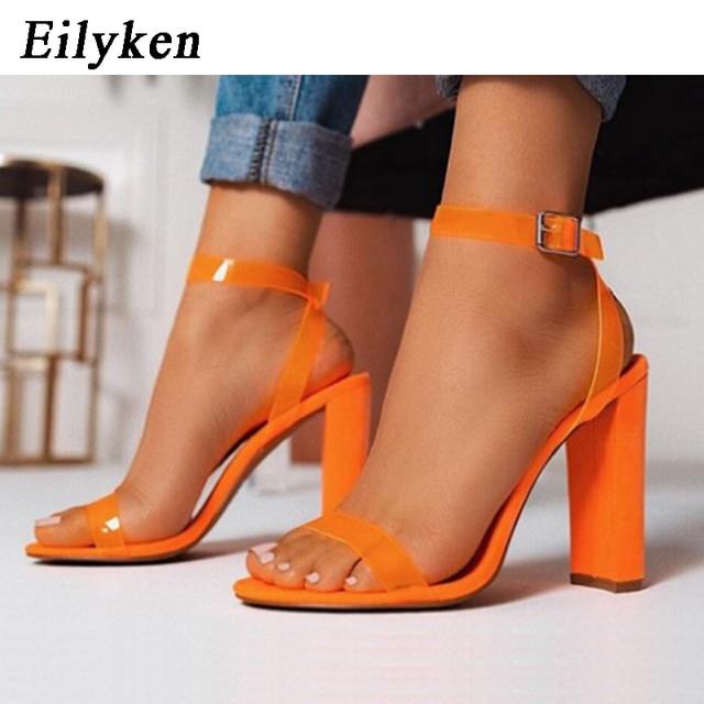 Eilyken sandalias de gelatina de PVC transparentes tacones altos abiertos moda fluorescente naranja mujer hebilla Sandalias de tacón Zapatos de fiesta