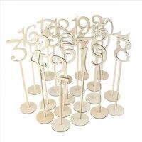 10 Pcs/set Hollow Digital Place Holder 1 20/21 40 Table Number Figure Card Digital Seat Decoration Wooden Wedding Party Supplier