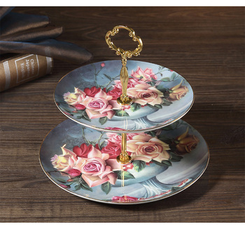 EECAMAIL Classical Rose European Afternoon Tea Three-layer Snack Plate Living Room Luxury Bone China Cake Dish Pastry Double