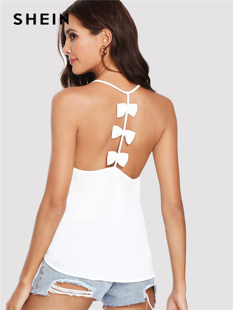 0546d92a29 SHEIN White Sexy Boho Bohemian Bow Embellished Open Back Solid Plain Cami  Camisole Streetwear Summer Tops