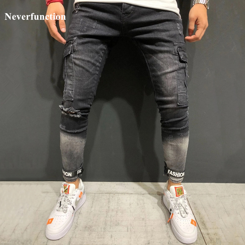 Dropshipping Man personality Multi-pocket Cargo Skinny Biker Stretch   Jeans   knee ripped Distressed vintage Motorcycle Denim Pants