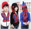 Бесплатная доставка Мальчики куртки 2016 детская одежда Spiderman Толстовка Мальчики пальто кардиган пальто куртки A253