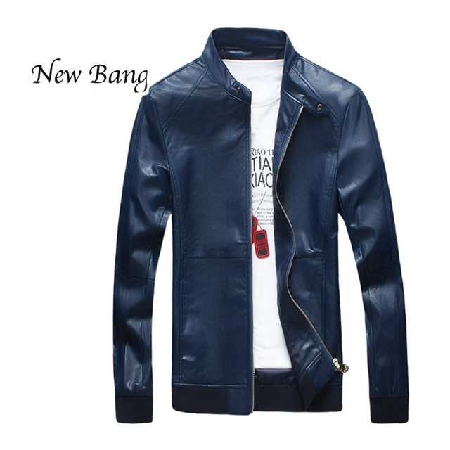 2016 New Leather Jacket  Men Autumn Spring PU Clothes Plus Size 5XL Black Slim Leather Jackets