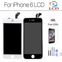 الصف aaa الجودة لا الميت بكسل ل iphone6 شاشة lcd ل فون 6 شاشة اللمس التحويل الرقمي التجمع ، أبيض وأسود
