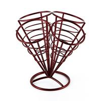 4in1 French Fry Stand Cone Basket Holder Black Iron Rack Ice Cream Shape Food Shelves Bowl Kitchen Potato Fries Chips Appetizers|Racks & Holders| |  -