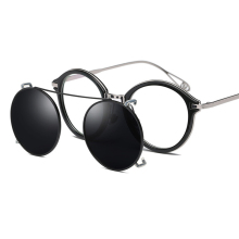 Clip On Sunglasses Steampunk Style and Round Mirrored Lens Polarized Clip-on For Driving Eyewear Optical Frame