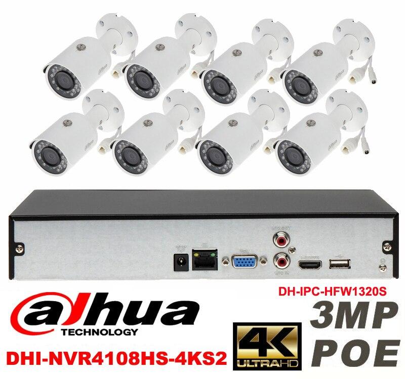 Dahua original 8CH 3MP H2.64 DH-IPC-HFW1320S 8pcs bullet IP security camera POE DAHUA DHI-NVR4108HS-4KS2 Waterproof camera kit видеокамера ip dahua dh ipc hdbw2220rp zs 2 7 12мм 1 2 8 1984x1225
